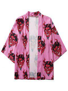 Open Front Demon Print Cardigan - Pink 2xl