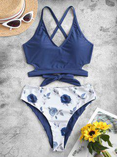 ZAFUL Reversible Criss Cross Floral Tankini Swimwear - Lapis Blue M