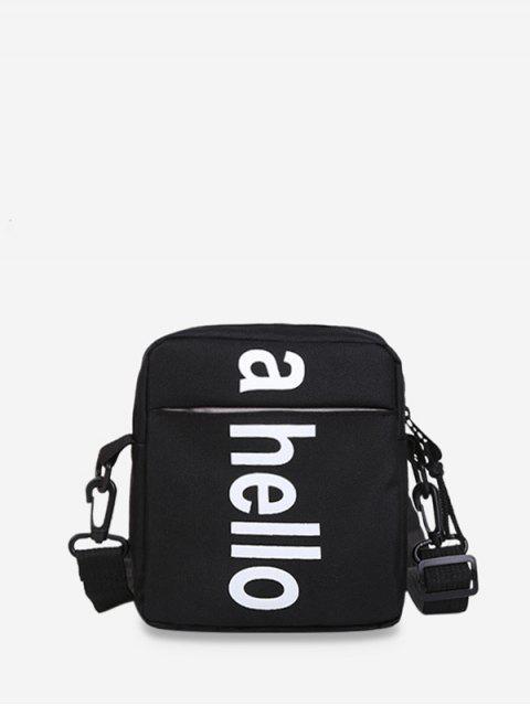 online Oxford Graphic Print Letter Zip Crossbody Bag - BLACK  Mobile