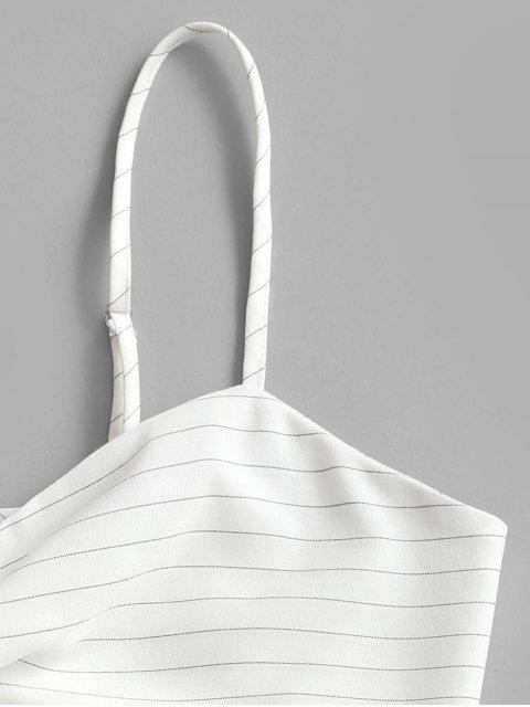 ZAFUL Camiseta da Colheita Listrada com Tiras de Amarra Cortado - Branco XL Mobile