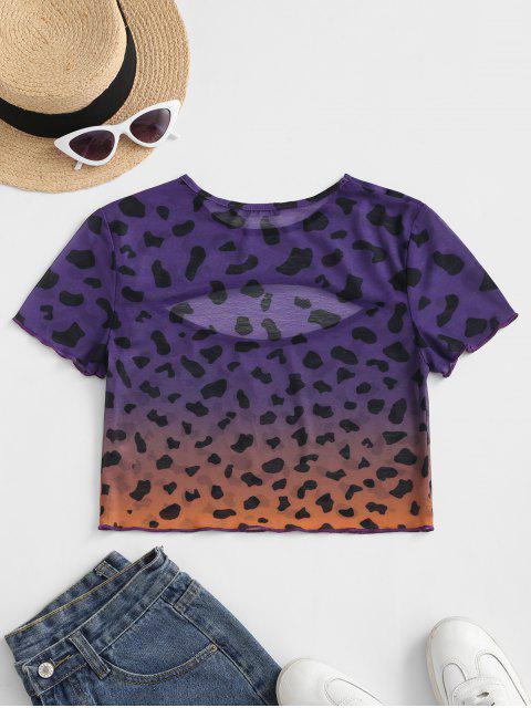 ZAFUL T-shirt Léopard Découpé Ombré en Maille Transparente - Multi-A XL Mobile