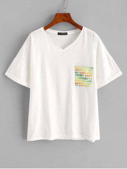 ZAFUL T-shirt Terre à Goutte Epaule avec Poche à Revers - Blanc L Mobile