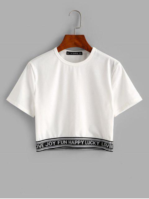 ZAFUL T-shirt Court Lettre Graphique à Manches Courtes - Blanc XL Mobile
