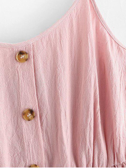 affordable ZAFUL Smocked Mock Button Cami Pocket Dress - PINK S Mobile
