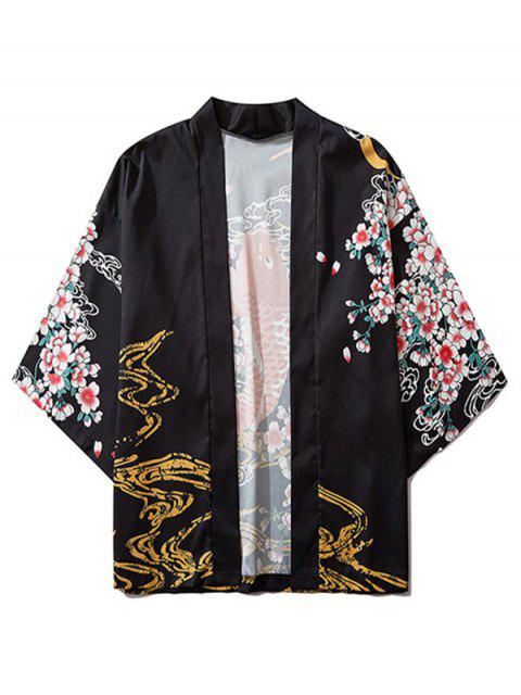latest Fish and Flowers Print Open Front Kimono Cardigan - BLACK M Mobile
