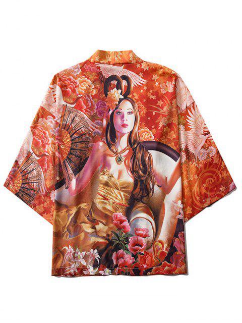 women's Open Front Gorgeous Floral Kimono Cardigan - ORANGE 2XL Mobile