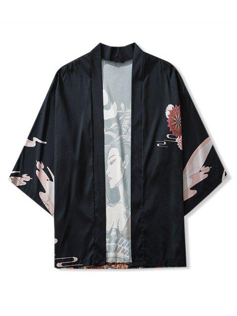 shops Beauty and Flowers Print Open Front Kimono Cardigan - BLACK L Mobile