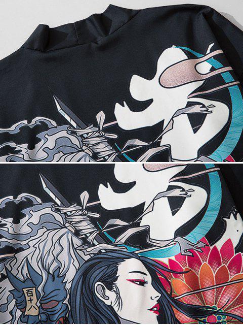 Cardigan Kimono Fleur Imprimée Ouvert en Avant - Noir XL Mobile