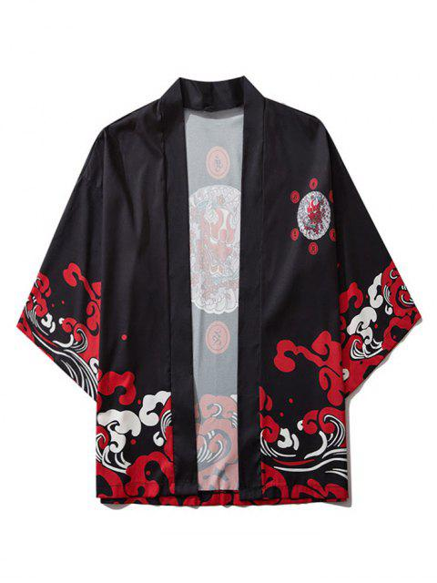 buy Open Front Oriental Printed Kimono Cardigan - BLACK XL Mobile