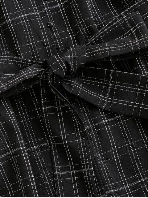trendy ZAFUL Plaid Loop Button Rolled Hem Belted Romper - BLACK XL Mobile