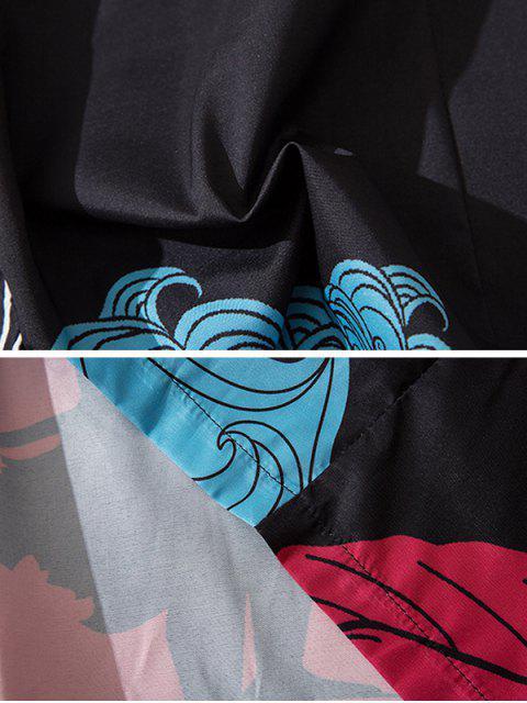 shop Wave and Crane Print Kimono Cardigan - BLACK M Mobile