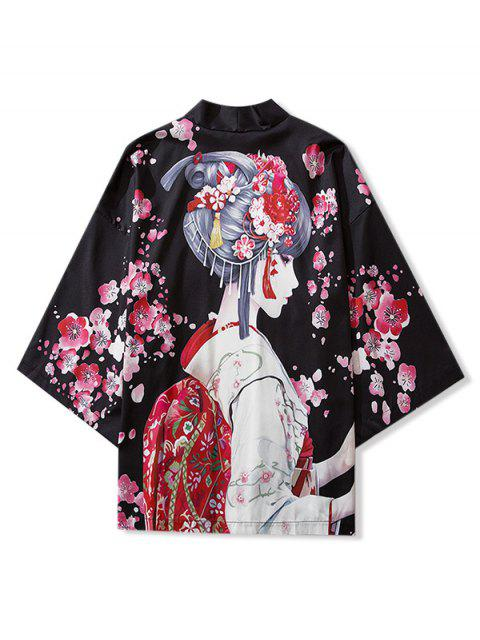 fashion Japanese Beauty Print Open Front Kimono Cardigan - BLACK M Mobile