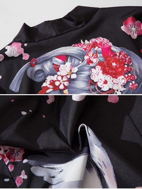 chic Japanese Beauty Print Open Front Kimono Cardigan - BLACK L Mobile