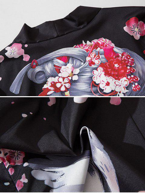 unique Japanese Beauty Print Open Front Kimono Cardigan - BLACK 2XL Mobile