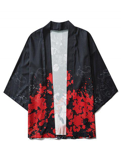 Flowers and Fishes Print Open Front Kimono Cardigan - أسود L Mobile