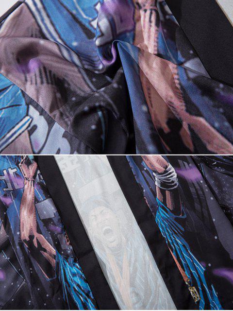 new Excited Guy Print Open Front Kimono Cardigan - MULTI XL Mobile