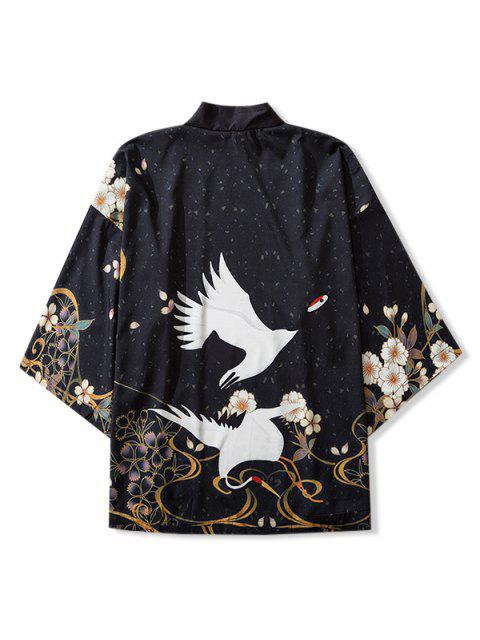Cardigan Kimono Ouvert en Avant Oiseaux et Fleurs Imprimés - Noir 2XL Mobile