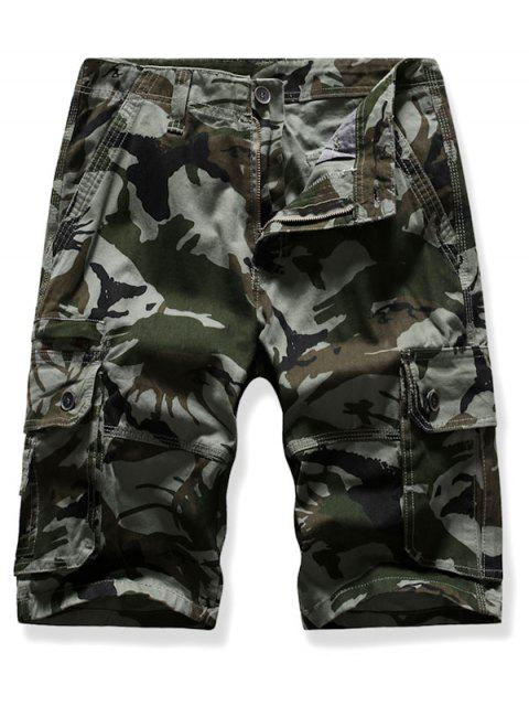 hot Mutil Flap Pocket Camouflage Cargo Shorts - ARMY GREEN 38 Mobile