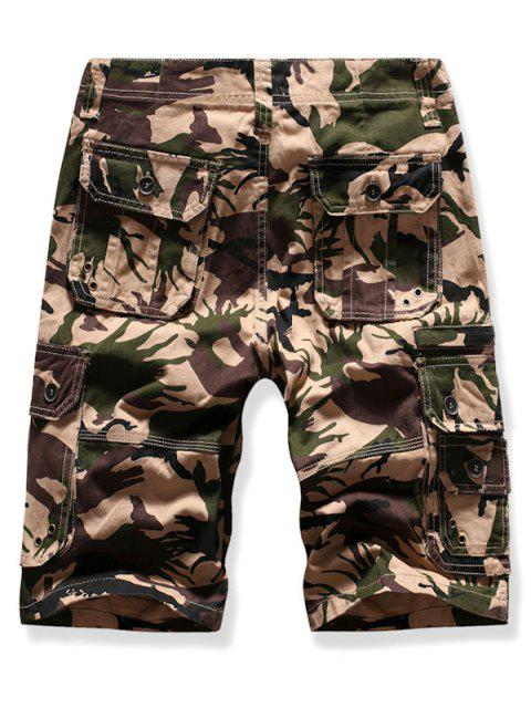 shops Mutil Flap Pocket Camouflage Cargo Shorts - LIGHT KHAKI 38 Mobile
