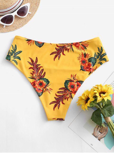 hot ZAFUL High Waisted Floral Bikini Bottom - MUSTARD S Mobile