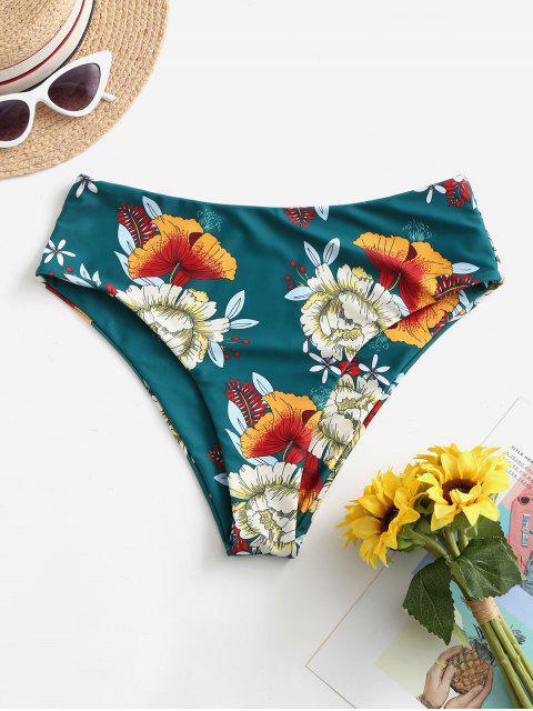 fashion ZAFUL High Waisted Floral Bikini Bottom - MEDIUM SEA GREEN M Mobile