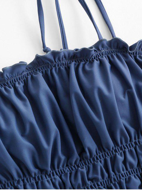 ZAFUL Maillot de Bain Tankini Imprimé à Epaule Nouée à Ourlet en Laitue - Bleu Océan M Mobile