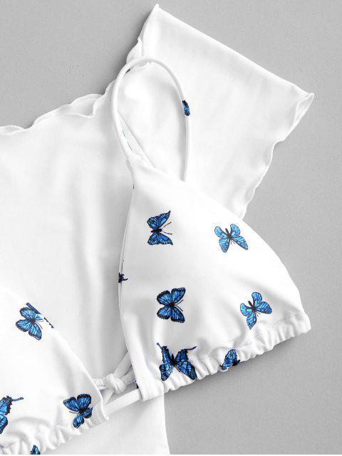 buy ZAFUL Off Shoulder Butterfly String Three Piece Bikini Swimwear - WHITE L Mobile