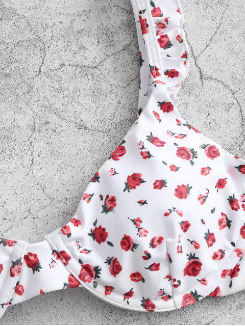 ZAFUL Corda de Impressão Floral com Babados Biquíni - Branco S Mobile