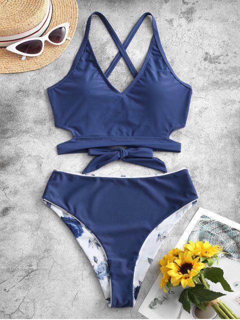 women's ZAFUL Reversible Criss Cross Floral Tankini Swimwear - LAPIS BLUE M Mobile
