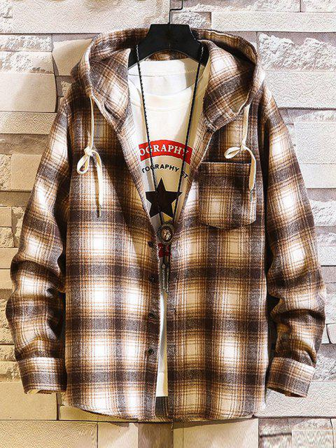 lady Hooded Plaid Print Button Up Shirt - LIGHT BROWN M Mobile