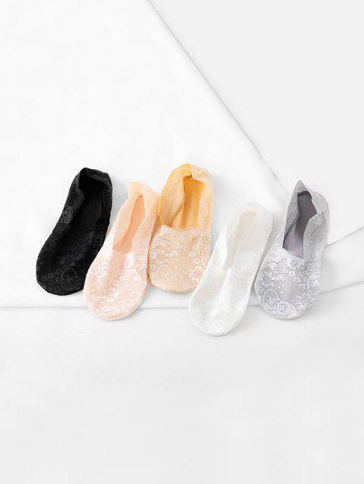 5Pairs Flower Lace Invisible Socks Set