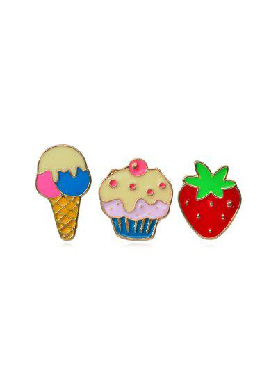 3Pcs Strawberry Brooch Set