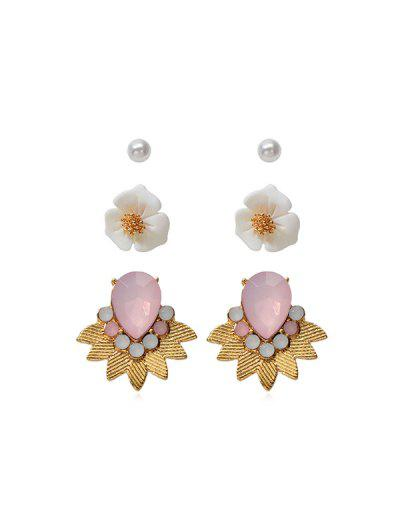 3 Pairs Faux Pearl Flower Earrings Set