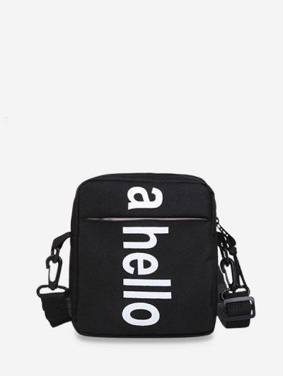Oxford Graphic Print Letter Zip Crossbody Bag - Black