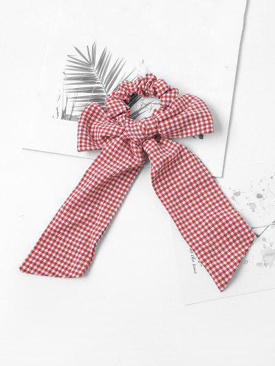 Bowknot Plaid Print Hair Tie