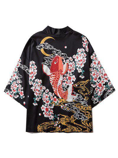 Fish And Flowers Print Open Front Kimono Cardigan - Black 2xl