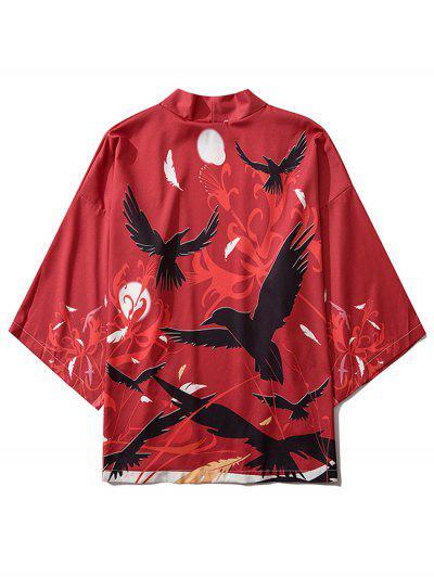Birds And Feathers Print Kimono Cardigan - Lava Red M