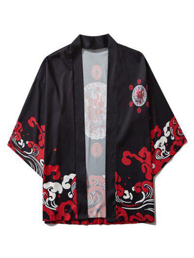 Open Front Oriental Printed Kimono Cardigan - Black L