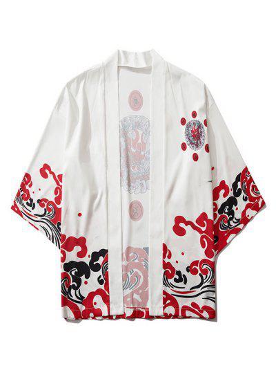 Open Front Oriental Printed Kimono Cardigan - White Xl