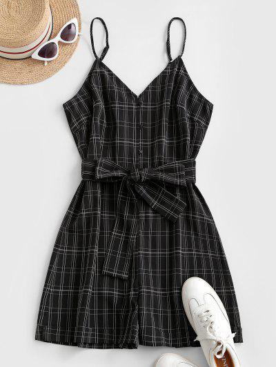 ZAFUL Plaid Loop Button Rolled Hem Belted Romper - Black S