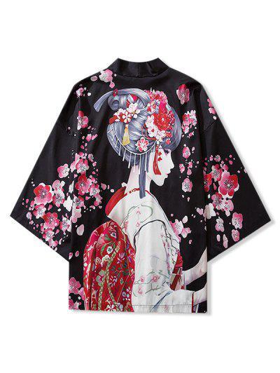 Japanese Beauty Print Open Front Kimono Cardigan - Black M