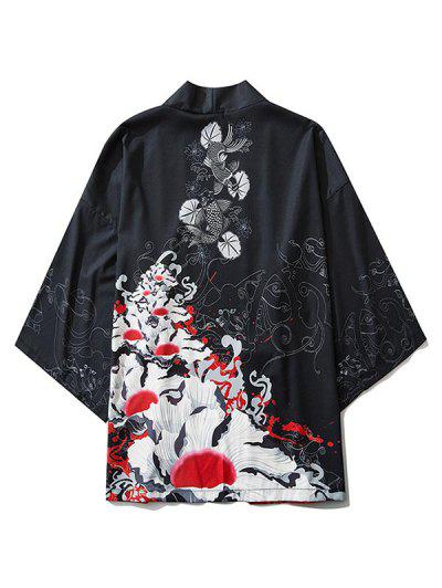 Flowers And Fishes Print Open Front Kimono Cardigan - Black 2xl