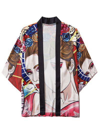 Open Front Fashion Lady Print Kimono Cardigan - Multi 2xl