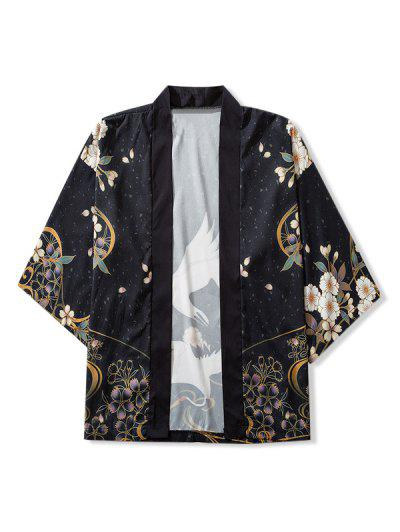 Birds And Flowers Print Open Front Kimono Cardigan - Black M
