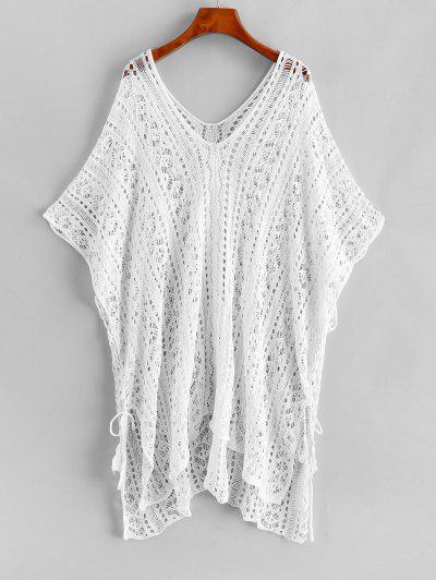 Crochet Knit Lace Up Plus Size Beach Top