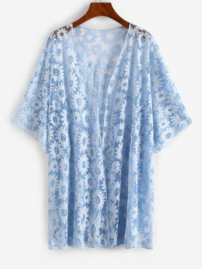 Floral Sheer Mesh Plus Size Beach Cover Up