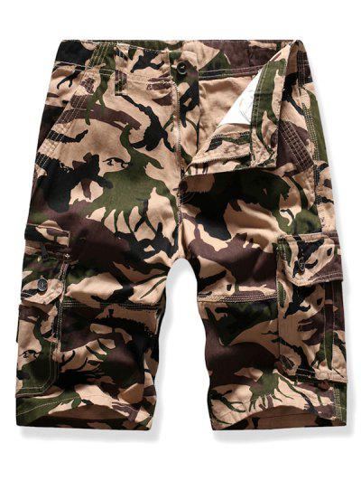 Mutil Flap Pocket Camouflage Cargo Shorts - Light Khaki 38