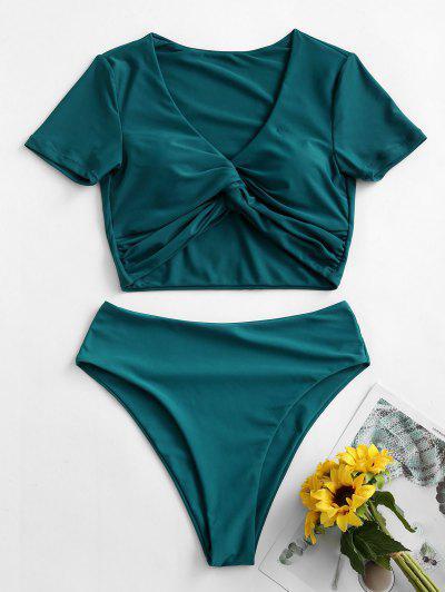 ZAFUL Cropped High Waisted Twist Front Two Piece Swimwear - Greenish Blue Xl