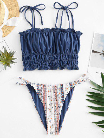 ZAFUL Lettuce Trim Printed Tie Shoulder Tankini Swimwear - Ocean Blue M