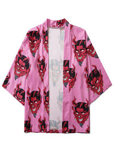 Open Front Demon Print Cardigan - Pink M